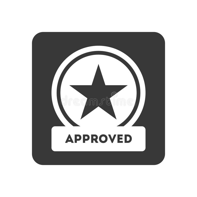 Kwaliteitscontrolepictogram met goedgekeurd symbool royalty-vrije illustratie