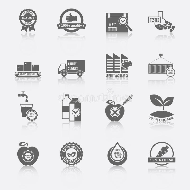 Kwaliteitscontrolepictogrammen stock illustratie