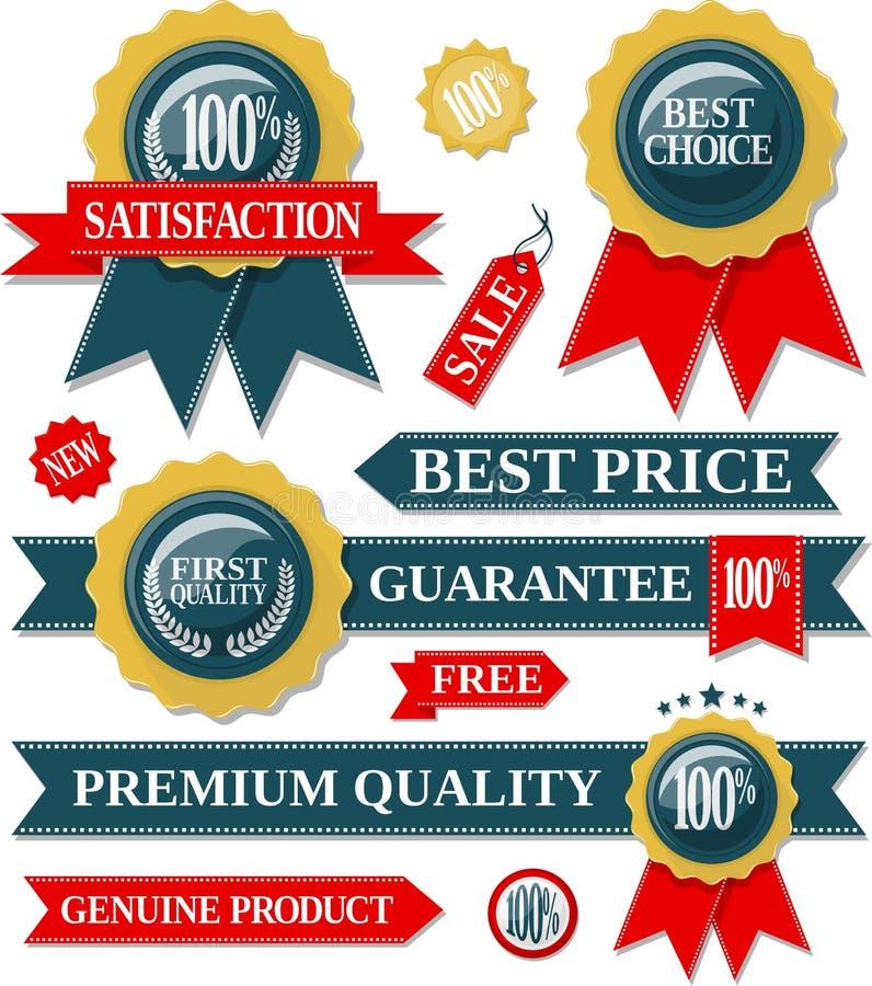 Kwaliteitslabels en verbindingslinten stock illustratie
