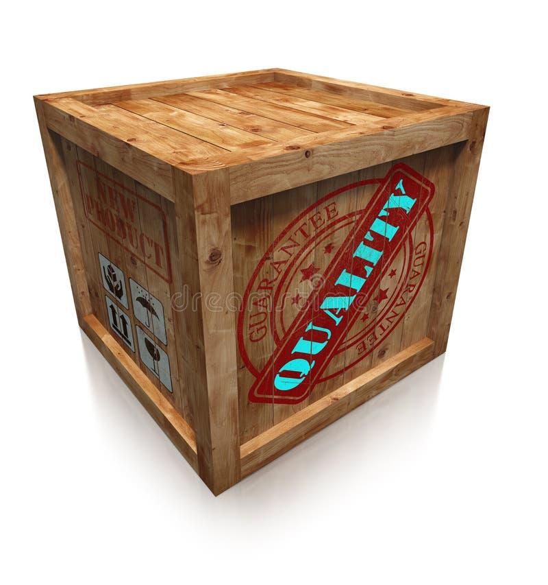 Kwaliteitsteken op houten dooskrat stock illustratie