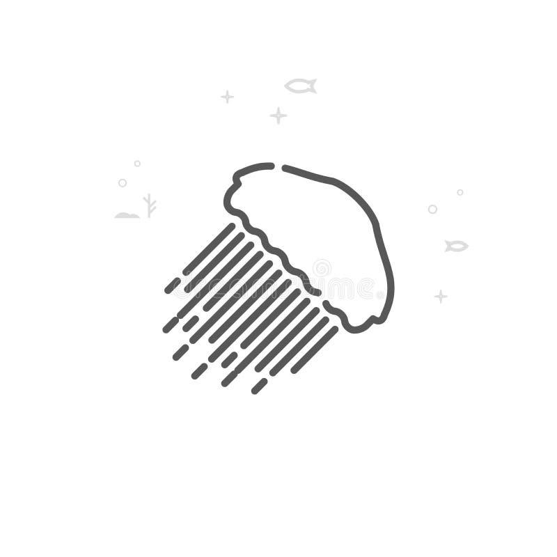 Kwallen, Pictogram van de Kwal het Vectorlijn, Symbool, Pictogram, Teken Lichte abstracte geometrische achtergrond Editableslag stock illustratie