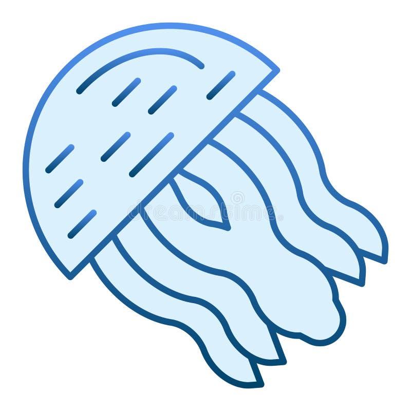 Kwallen vlak pictogram Aquatische blauwe pictogrammen in in vlakke stijl De stijlontwerp van de kwalgradiënt, voor Web dat en app royalty-vrije illustratie