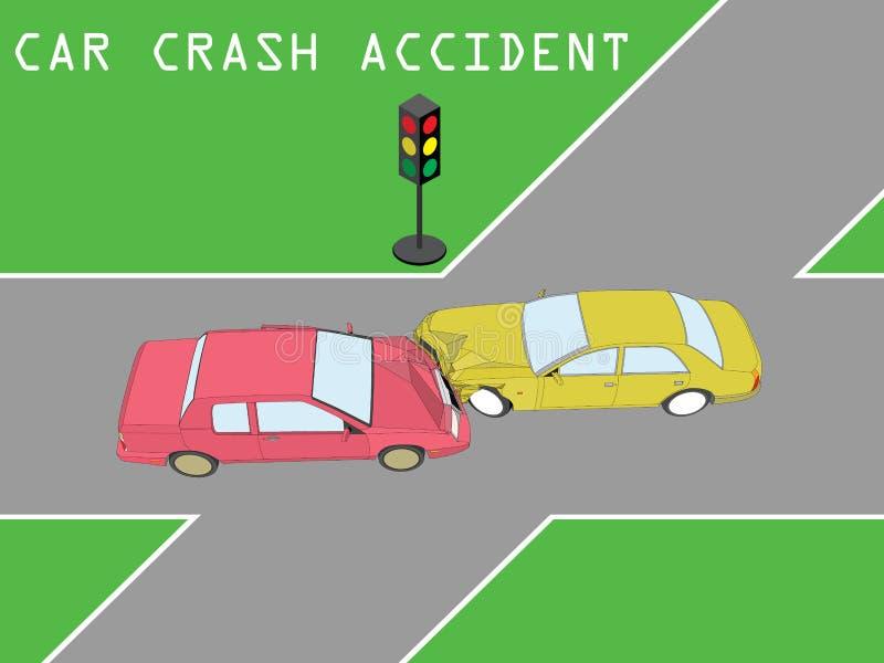 Kwam de ongevallen Persoonlijke auto bij kruising in botsing royalty-vrije illustratie