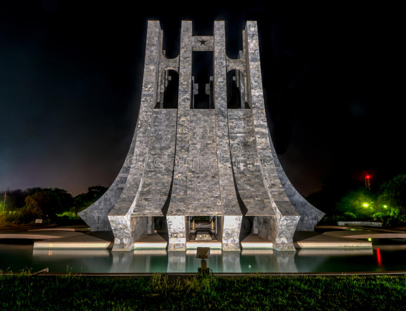 Kwame Nkrumah Memorial Park at night - Accra, Ghana. Kwame Nkrumah Memorial Park at night. Kwame Nkrumah Memorial Park (KNMP) is a National Park in Accra, Ghana royalty free stock photo