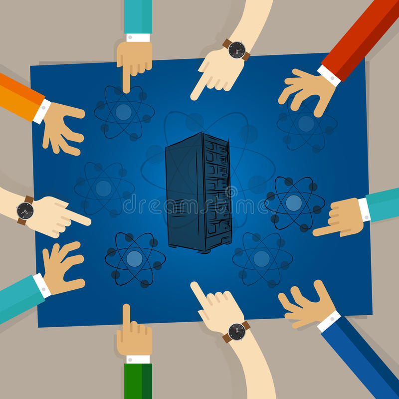 Kwantowy obliczenia serweru komputeru technologii elementu molekuły życiorys physics wręcza działanie wpólnie jako drużyna ilustracji