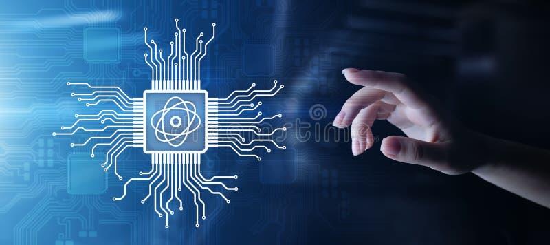 Kwantowy procesoru układu scalonego potężny superkomputer Nowożytna technologia i obliczać pojęcie na wirtualnym ekranie, fotografia stock