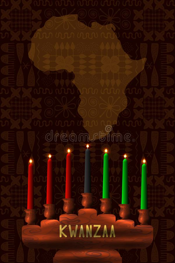 kwanzaa Conceito de um festival afro-americano no Estados Unidos Kinara - castiçal de madeira e 7 velas de tradicional ilustração do vetor