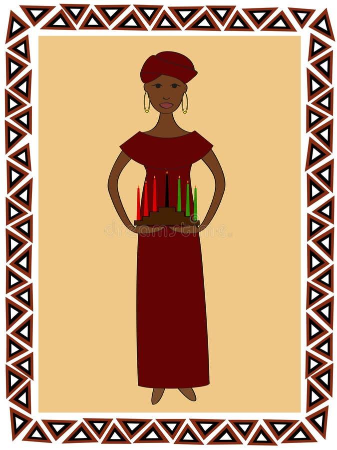 kwanzaa kvinna royaltyfri illustrationer