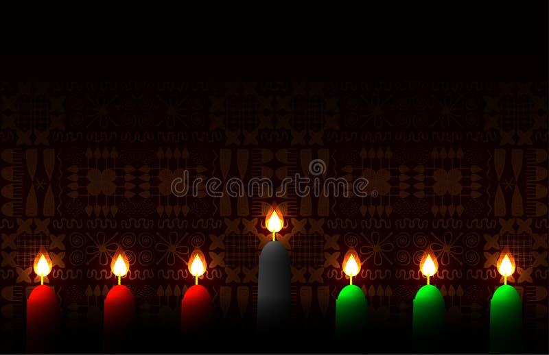 kwanzaa Pojęcie amerykanin afrykańskiego pochodzenia festiwal w Stany Zjednoczone 7 świeczek tradycyjni kolory Etniczni wzory na ilustracji