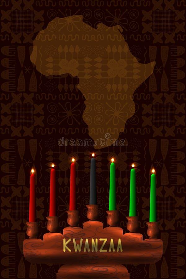 kwanzaa Pojęcie amerykanin afrykańskiego pochodzenia festiwal w Stany Zjednoczone Kinara drewniany świeczka właściciel i 7 tradyc ilustracja wektor