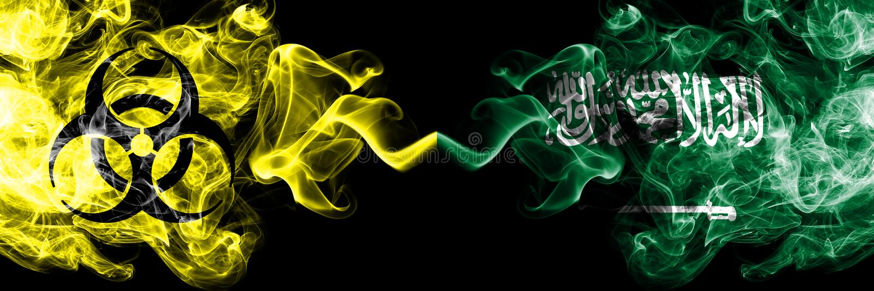 Kwarantanna w Arabii Saudyjskiej, Arabia Blokada COVID-19 programu Coronavirus Smoky mystic flag Arabii Saudyjskiej, Arabia z zag ilustracji