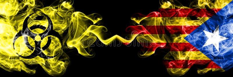 Kwarantanna w Katalonii, Hiszpania Blokada COVID-19 programu Coronavirus Smoky mystic flag Catalonia, Hiszpania z umieszczonym sy royalty ilustracja