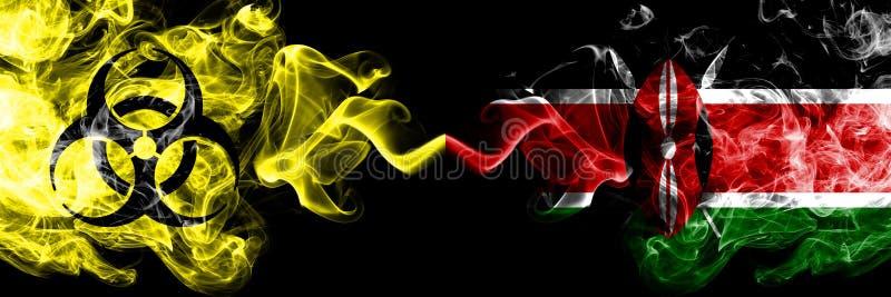 Kwarantanna w Kenii, Kenia Blokada COVID-19 programu Coronavirus Smoky mystic flag Kenii, Kenia z umieszczonym obok symbolem zagr royalty ilustracja