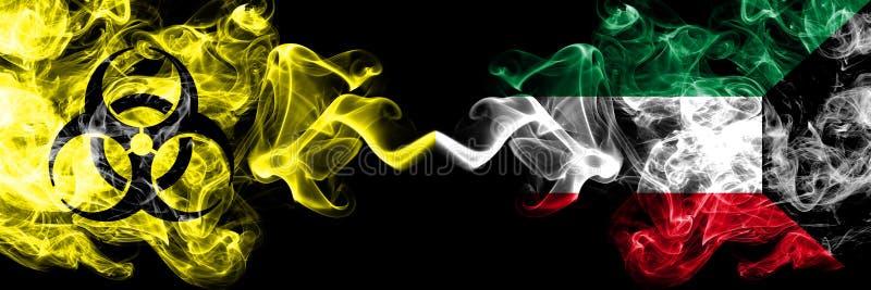 Kwarantanna w Kuwejcie, Kuwejt Blokada COVID-19 programu Coronavirus Smoky mystic flag Kuwait, Kuwejt z umieszczonym symbolem zag royalty ilustracja