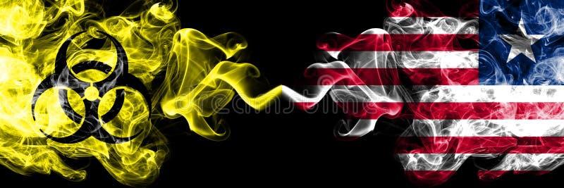 Kwarantanna w Liberii, Liberia Blokada COVID-19 programu Coronavirus Smoky mystic flag Liberii, Liberia z symbolem zagrożenia bio royalty ilustracja