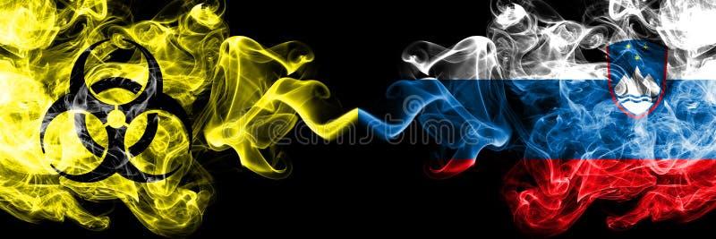 Kwarantanna w Słowenii, słoweńska Blokada COVID-19 programu Coronavirus Smoky mystic flag Słowenii, słoweński z symbolem zagrożen ilustracja wektor