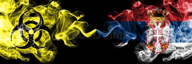 Kwarantanna w Serbii, serbski Blokada COVID-19 programu Coronavirus Smoky mystic flag Serbia, Serbski z umieszczonym symbolem zag royalty ilustracja