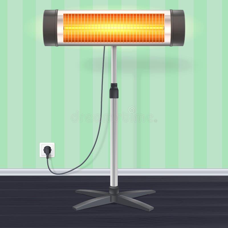 Kwarcowy fluorowa nagrzewacz z rozjarzoną lampą na tapetowym tle Domowy elektryczny nagrzewacz na chromu metalu stojaku ilustracji