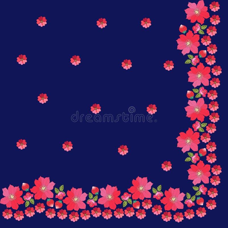 Kwart van hoofddoek met bloemengrens Nam, malve, aardbei en clematissen toe vector illustratie