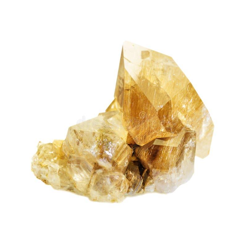 Kwartskristallen met rutiel royalty-vrije stock afbeelding