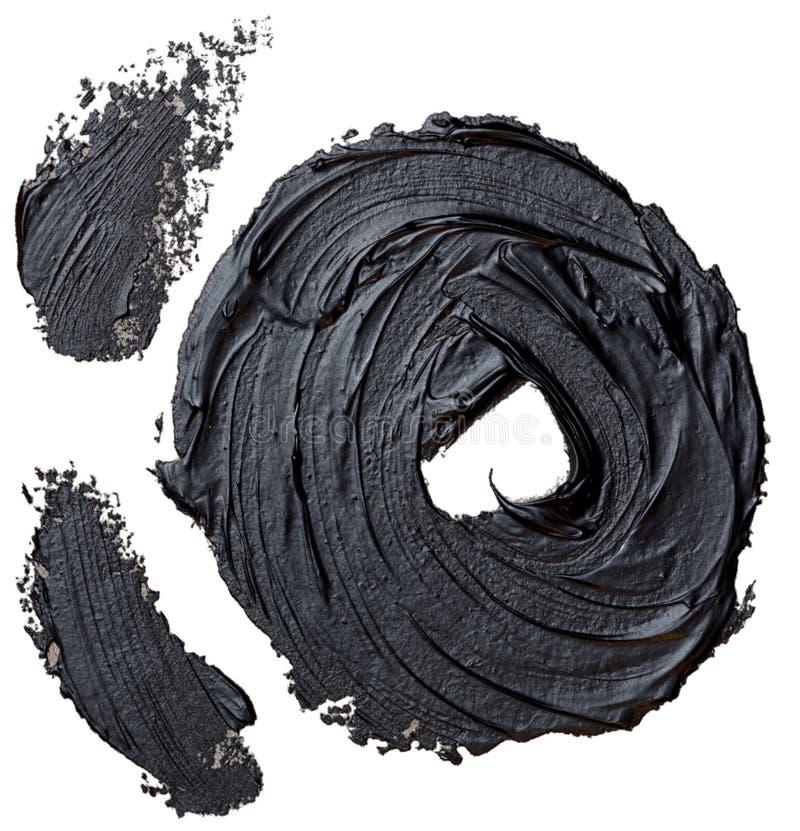 Kwaststreek van de cirkel de geweven hand getrokken zwarte olieverf en twee wenkbrauwenlijnen stock illustratie