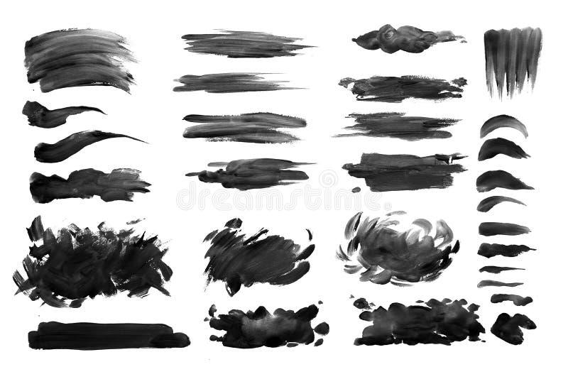 Kwaststreken met waterverfverf op document Kwaststreken met waterverfverf op papier stock foto