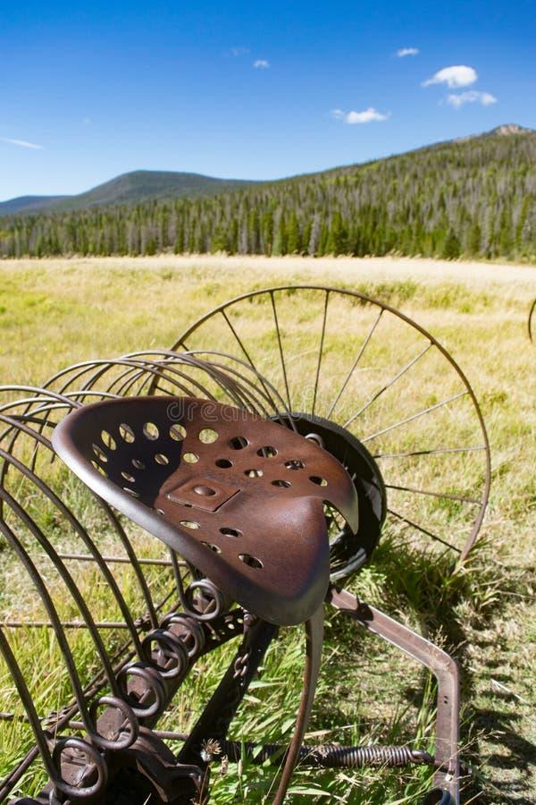 Kweek- en antiquiteitje IJzer Hay Rake in het grasland stock fotografie