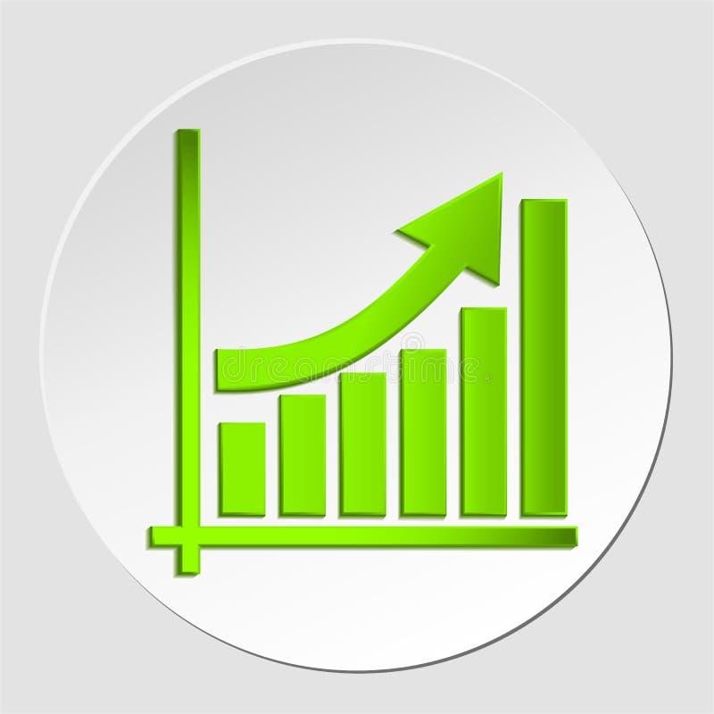 Kwekend bedrijfspijl op diagram van de groei, profiteer groene pijl vectorgrafiekpictogram EPS10 stock illustratie