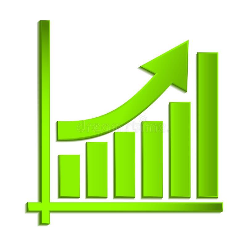 Kwekend bedrijfspijl op diagram van de groei, profiteer groene pijl vectorgrafiekpictogram Vector eps10 vector illustratie