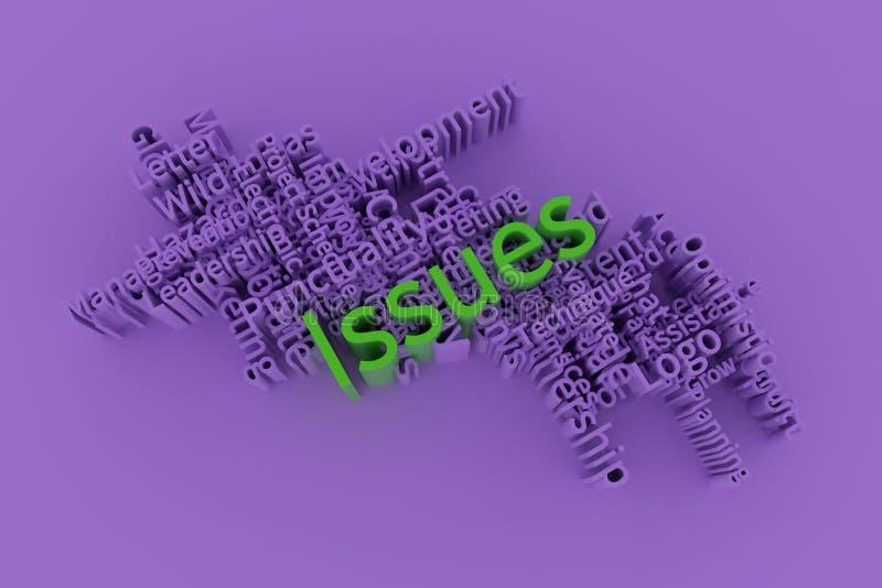 Kwesties, bedrijfssleutelwoord en woordenwolk Voor webpagina, grafisch ontwerp, textuur of achtergrond het 3d teruggeven stock illustratie
