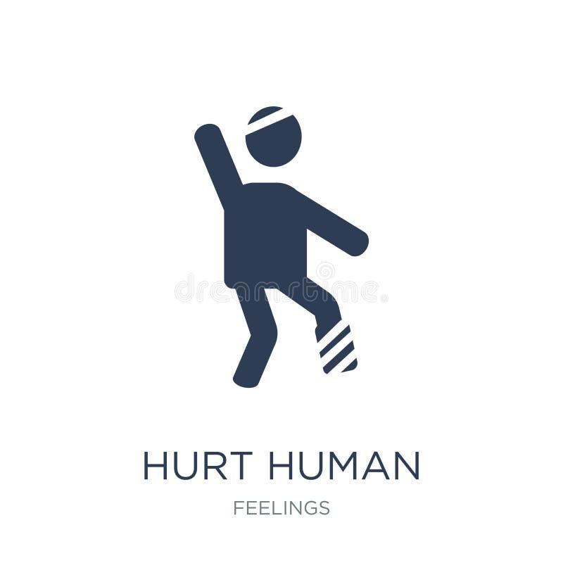 kwets menselijk pictogram De in vlakke vector kwetste menselijk pictogram op witte bac stock illustratie