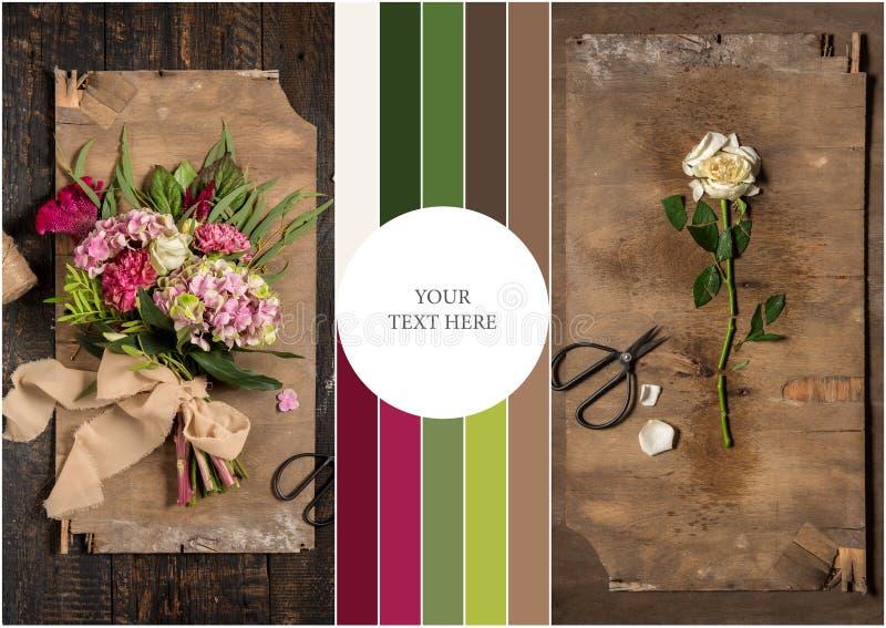 Kwiaciarni desktop z pracującymi narzędziami ilustracja wektor