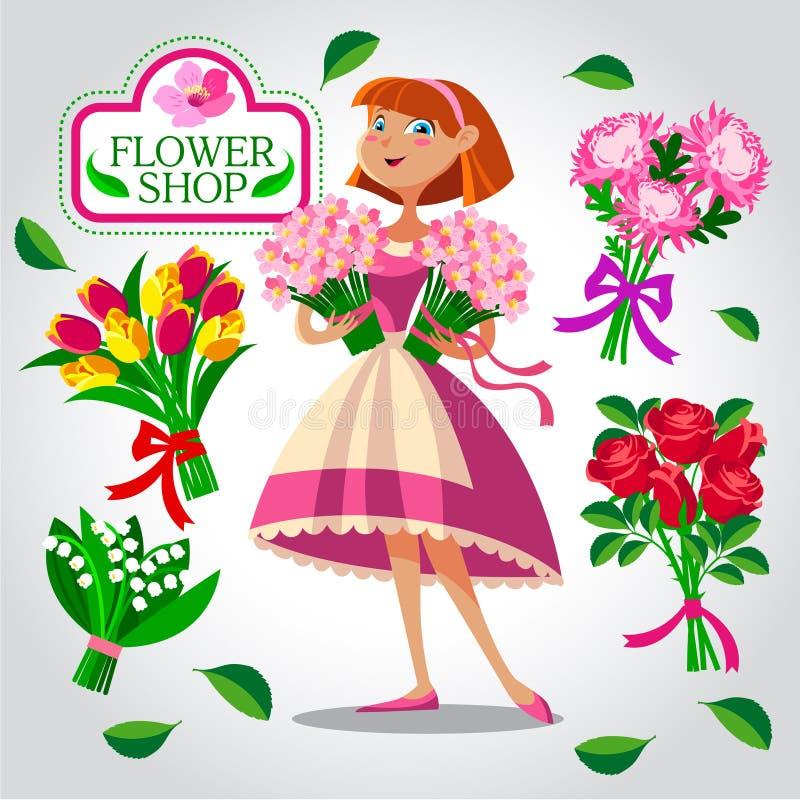 Kwiaciarni dziewczyna kreskówki serc biegunowy setu wektor ilustracja wektor