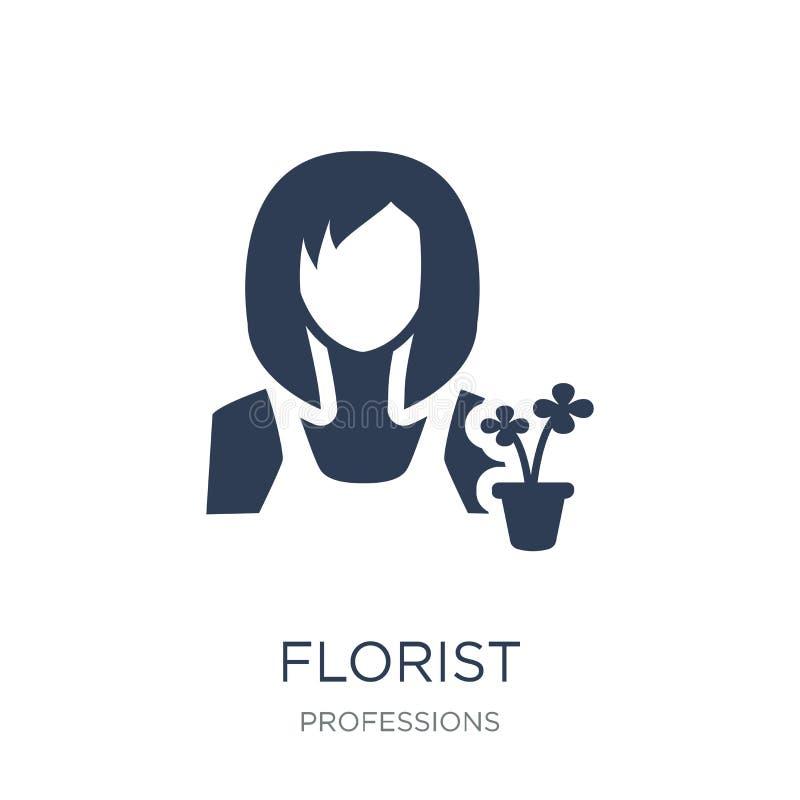 Kwiaciarni ikona Modna płaska wektorowa kwiaciarni ikona na białym backgroun royalty ilustracja