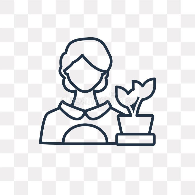 Kwiaciarni wektorowa ikona odizolowywająca na przejrzystym tle, liniowy F ilustracji
