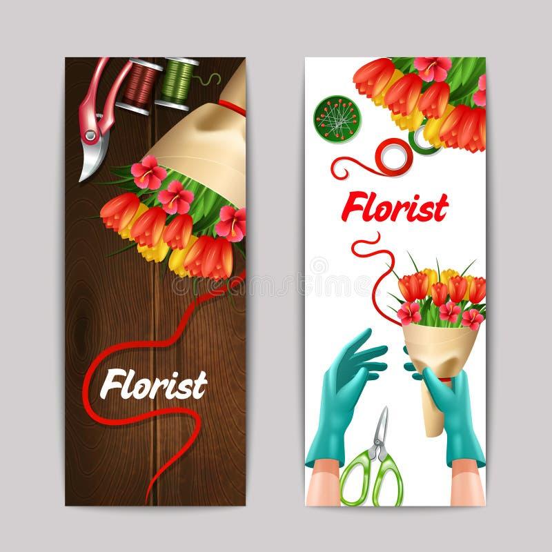 Kwiaciarnia koloru sztandaru set ilustracji