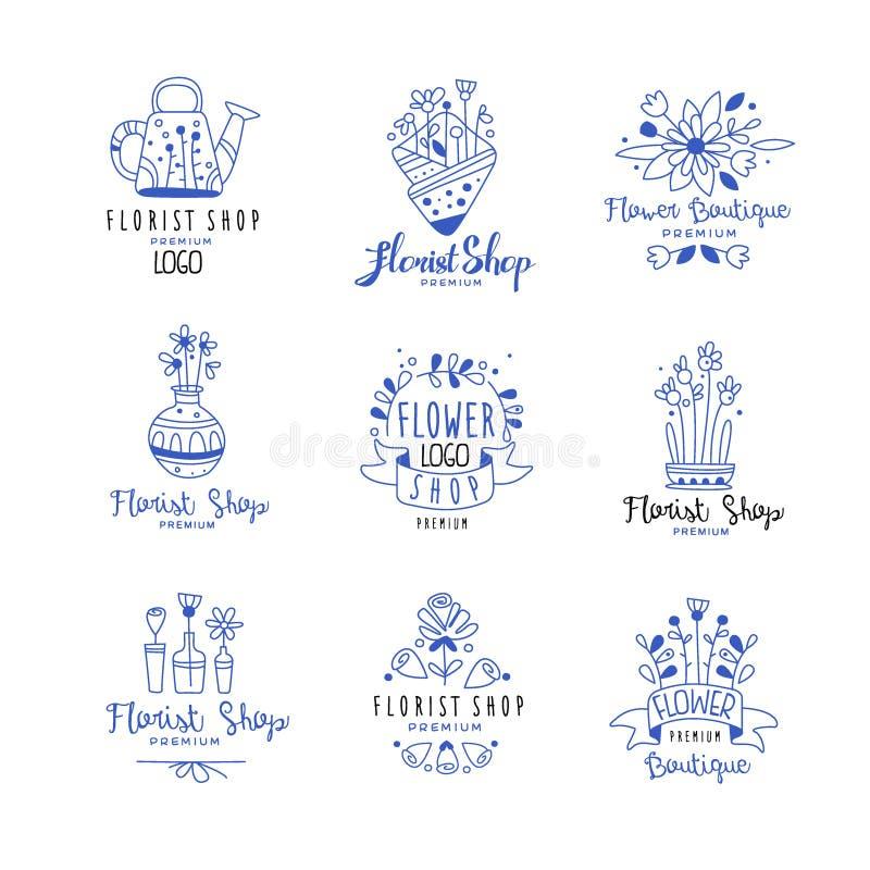 Kwiaciarnia sklepu loga premii set, kwiatu butika odznaki wręcza patroszone wektorowe ilustracje w błękitnych kolorach na bielu ilustracja wektor