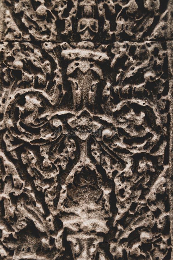 Kwiaciasty Bas ulgi szczegół w Angkor Wat, Siem Przeprowadza żniwa, Kambodża, Indochina, Azja zdjęcie stock