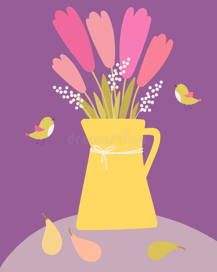 Kwiatów bukiety w żółtej wazie zdjęcie stock