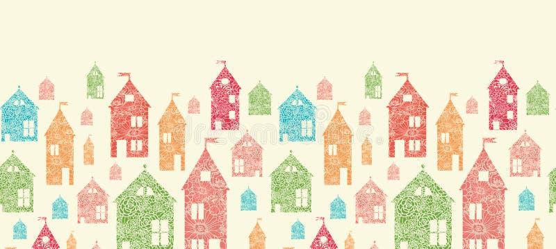 Kwiatów grodzkich domów horyzontalny bezszwowy wzór ilustracja wektor