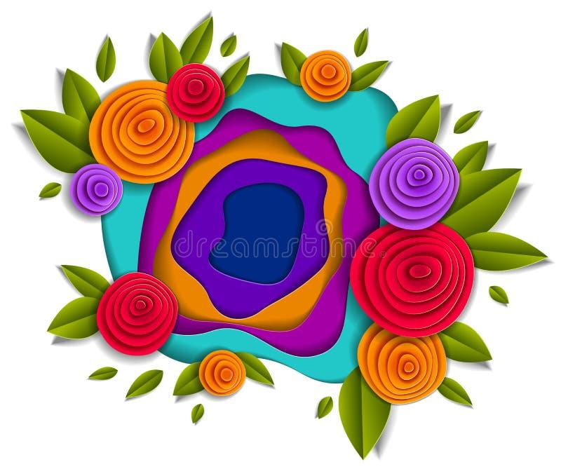 Kwiatów i liści piękny projekt, wektorowa ilustracja w pape ilustracja wektor
