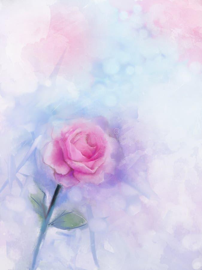 Kwiatów malować Menchii róża kwiecista w pastelowym kolorze ilustracja wektor