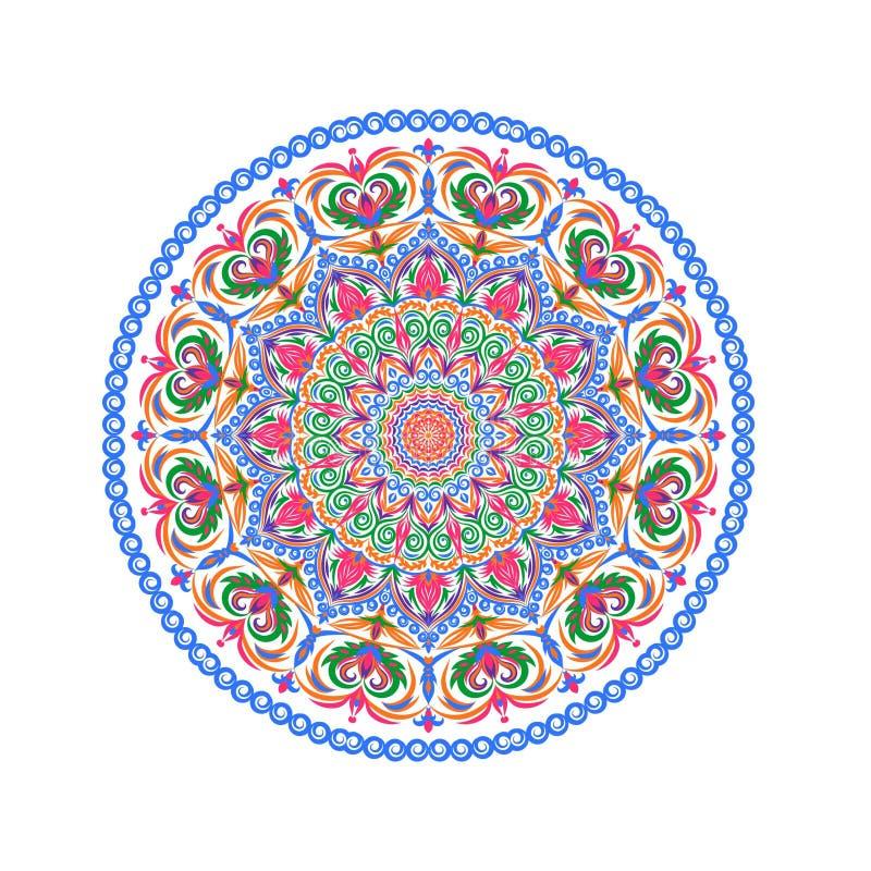 Kwiatów mandalas Orientalna dekoracyjna deseniowa ilustracja Islam, język arabski, indianin, turecki, Pakistan, chińczyk, ottoman royalty ilustracja