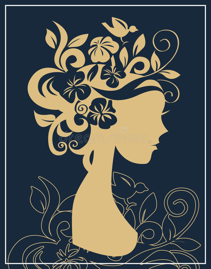 kwiatów sylwetki kobieta ilustracja wektor