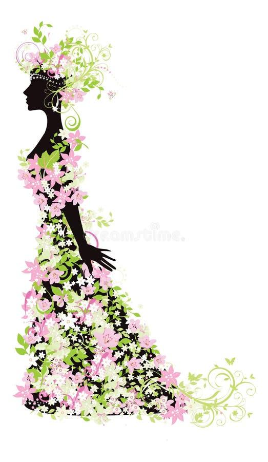 kwiatów sylwetki kobieta ilustracji