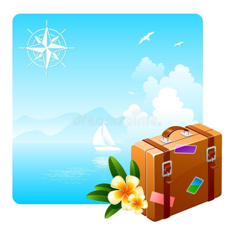 Kwiatów Walizki Podróż Tropikalna Zdjęcie Stock