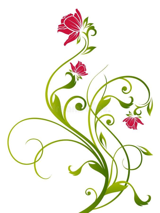kwiatów winogrady zieleni czerwoni ilustracja wektor