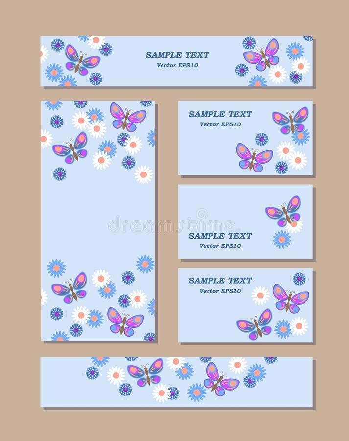 Kwiatów wzory różni rozmiary z motylami, stokrotkami i cornflowers, Dla romantycznego i Easter projekta, zawiadomienia, royalty ilustracja