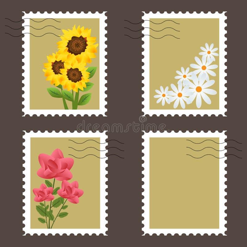 kwiatów znaczki royalty ilustracja