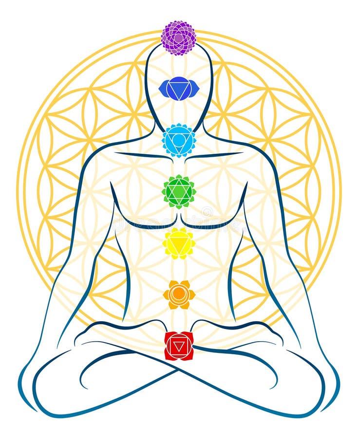 Kwiat życia Chakras mężczyzna ilustracja wektor